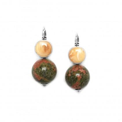 """Boucles d'oreilles """"perle ronde unakite"""" - Nature Bijoux"""