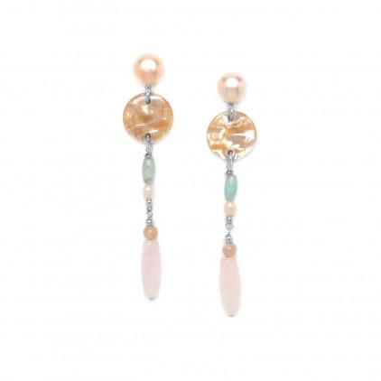 "Manyara Longues boucles d'oreilles ""top perle"" - Nature Bijoux"