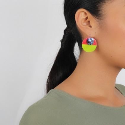COLOR BLOC - petites Boucles rouges & vertes - Nature Bijoux