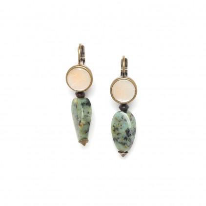 Tarawera Boucles d'oreilles perle turquoise torsadée - Nature Bijoux
