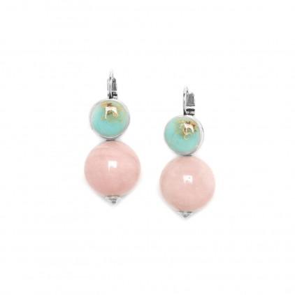 Manyara Boucles d'oreilles perle ronde quartz rose - Nature Bijoux