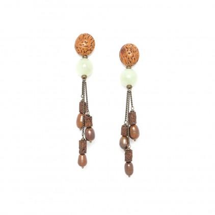 Burundi Boucles d'oreilles 3 chaînes top graine - Nature Bijoux