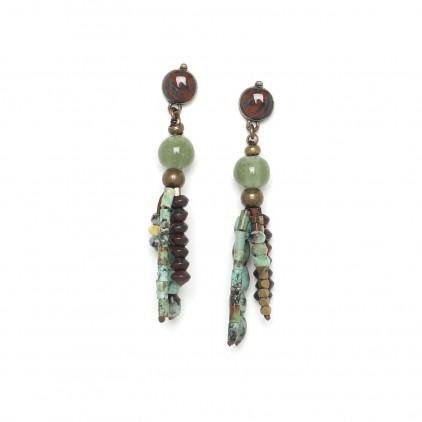 Tarawera Boucles d'oreilles petit pompon - Nature Bijoux