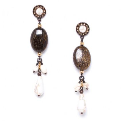 SAOURA - Boucles 3 pampilles sur perle ovale - Nature Bijoux