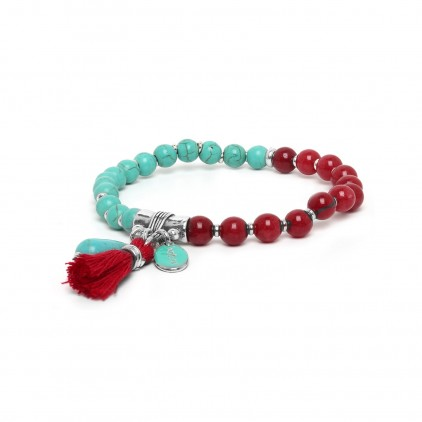 Les duos Turquoise howlite & dyed jade bracelet - Nature Bijoux