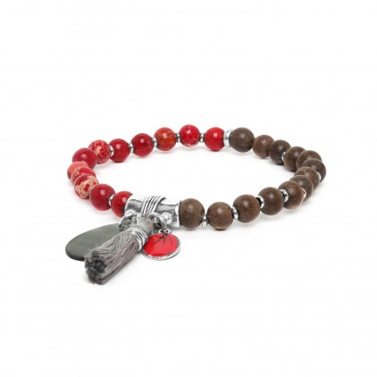 Les duos Greywood & howlite bracelet - Nature Bijoux