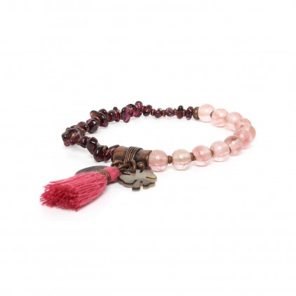 Les duos Garnet/ quartz bracelet - Nature Bijoux