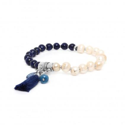 Les duos Bracelet perle / lapis lazuli - Nature Bijoux
