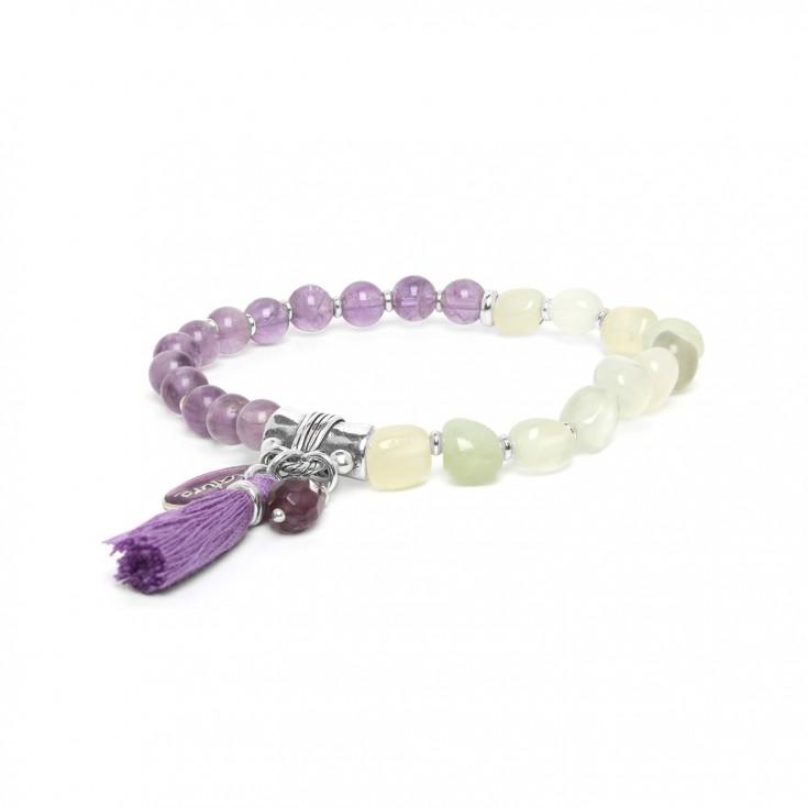 Les duos Amethyste & jade bracelet - Nature Bijoux