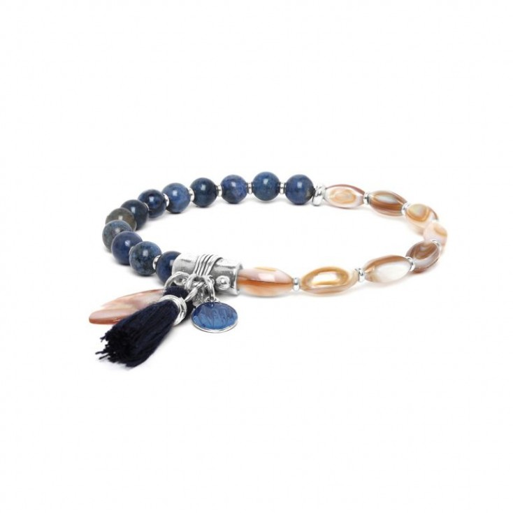 LES DUOS - bracelet nacre & dumortierite - Nature Bijoux