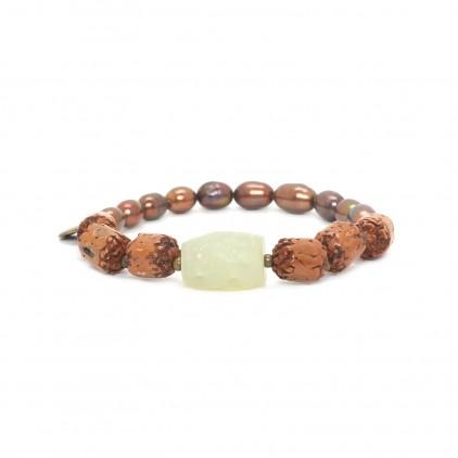 BURUNDI - Bracelet extensible moitié perles - Nature Bijoux