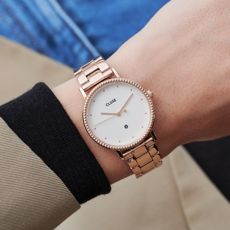 Le Couronnement 3-Link Rose Gold Winter white/Rose Gold