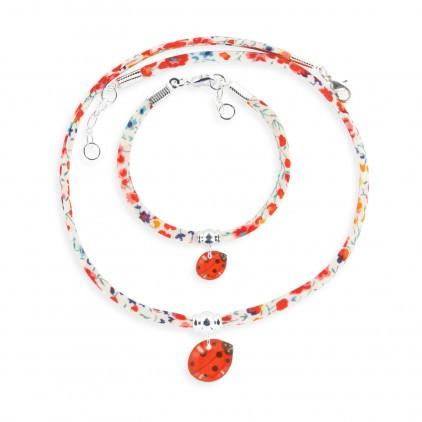Collier et Bracelet Liberty Coccinelle - Ribambelle Bijoux