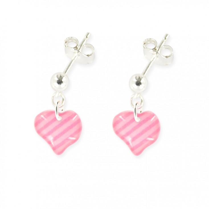 Boucles d'oreilles pendantes cœur rose - Ribambelle Bijoux