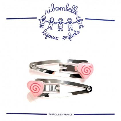 Barrettes clic-clac 4cm cœur rose - Ribambelle Bijoux