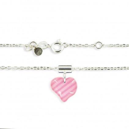 Pendentif et chaîne fine cœur rose - Ribambelle Bijoux