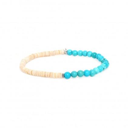 Heishe Bracelet extensible en howlite turquoise - Nature Bijoux