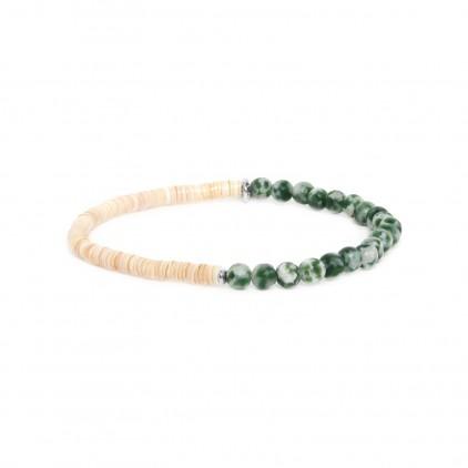 Heishe Bracelet extensible en jaspe vert - Nature Bijoux