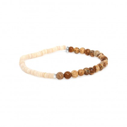 HEISHE - bracelet extensible en jaspe paysager - Nature Bijoux