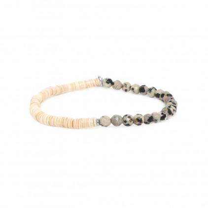 HEISHE - bracelet extensible en jaspe dalmatien - Nature Bijoux