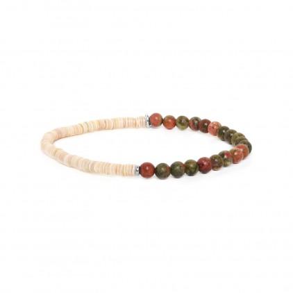 HEISHE - bracelet extensible en unakite - Nature Bijoux