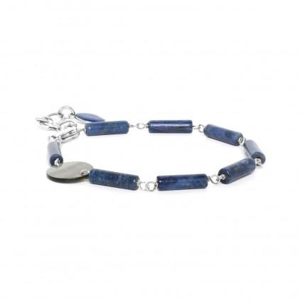 LOOPING - bracelet lapis lazuli & Nacre - Nature Bijoux