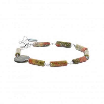 LOOPING - bracelet unakite & Nacre - Nature Bijoux