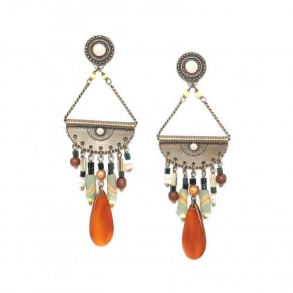 Boucles d'oreilles balancier multirangs - Nature Bijoux