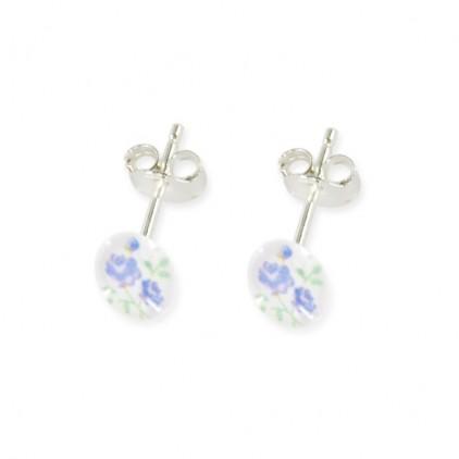 Boucles d'oreilles Petites Fleurs Bleues - Ribambelle Bijoux