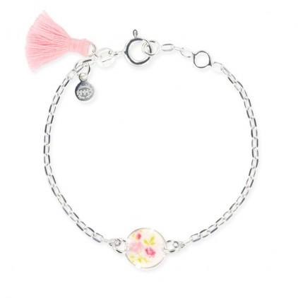 Bracelet chaîne et cercle petites fleurs roses - Ribambelle Bijoux