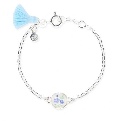 Bracelet chaîne et cercle petites fleurs bleues - Ribambelle Bijoux