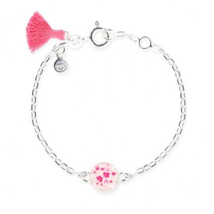 Bracelet chaîne et cercle petites fleurs framboise - Ribambelle Bijoux