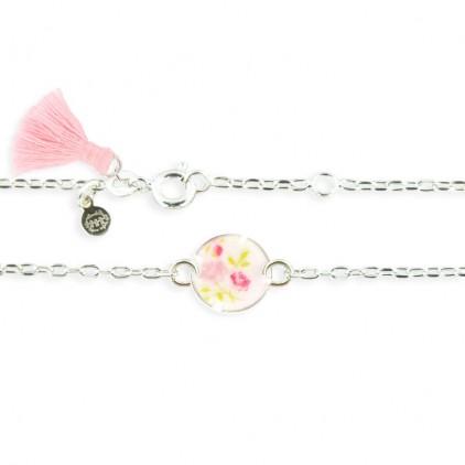 Collier forçat cercle petites fleurs roses - Ribambelle Bijoux