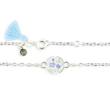 Collier forçat cercle petites fleurs bleues - Ribambelle Bijoux