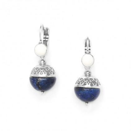 MOON - boucles dormeuses lapis lazuli - Nature Bijoux