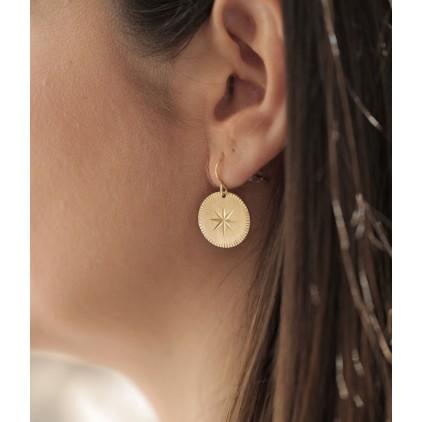 Boucles d'oreilles Hélios – Acier doré - ZAG