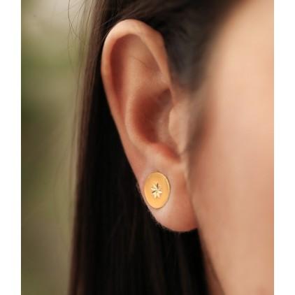 Boucles d'oreilles puces El paso – Acier doré - ZAG