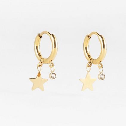 Boucles d'oreilles Lucky Star – Acier doré - ZAG