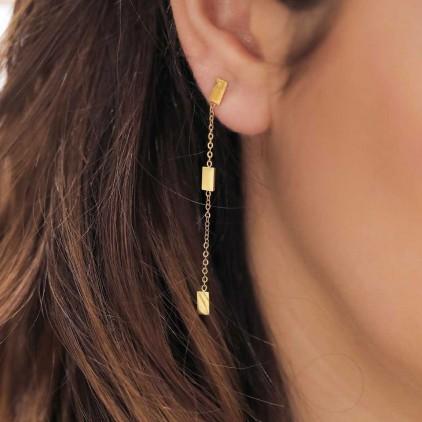 Boucles d'oreilles Miko – Acier doré - ZAG