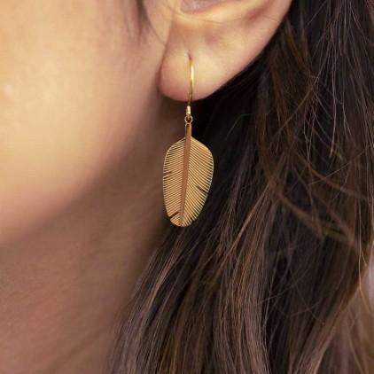 Boucles d'oreilles Amazonia – Acier doré - ZAG