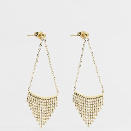 Boucles d'oreilles Pagne – Acier doré - ZAG