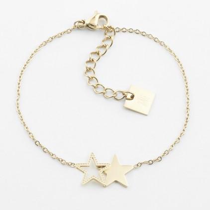 Bracelet Double star – Acier doré - ZAG