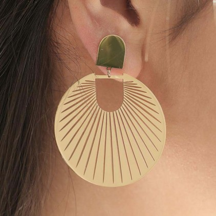 Boucles d'oreilles Mandarin – Acier doré - ZAG